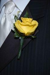 Ivory Calla Lily & Yellow Rose Boutonniere